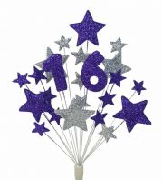 Number age 16th birthday cake topper decoration in silver and purple - free postage
